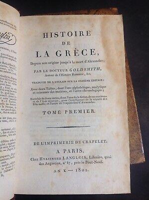 Livres anciens - Goldsmith - Histoire de la Grèce - 1802 - B21