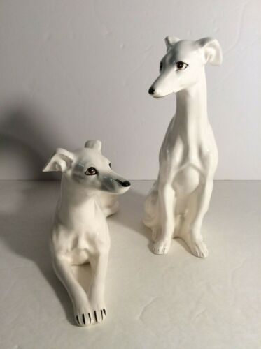 Vintage Porcelain Greyhound Dogs Figurine Set of 2 Hand Painted - TILSO