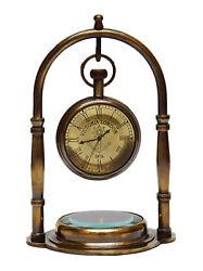 Clock Brass Desk Marine Antique Compass Base Tabletop Decorative Table Gift Item