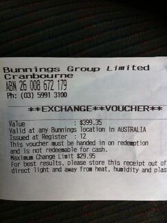 Bunnings voucher $399.35