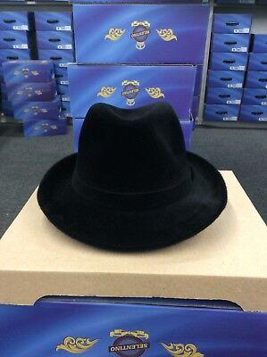 SELENTINO GALAXY 100% GENUINE VELOUR FEDORA BLACK HAT 62 7 3/4