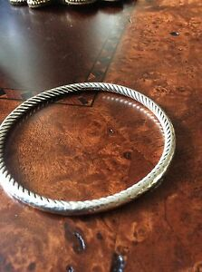 David Yurman authentic Sterling silver 4 mm heavy bangle West Island Greater Montréal image 4