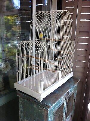 Vintage metal birdcage Medium size attractive shape 65cm W 69cm H 31cm D shabby
