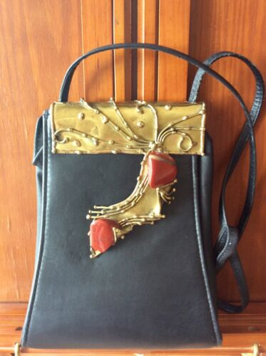 Black leather purse with brass and gem stone hand crafted clasp