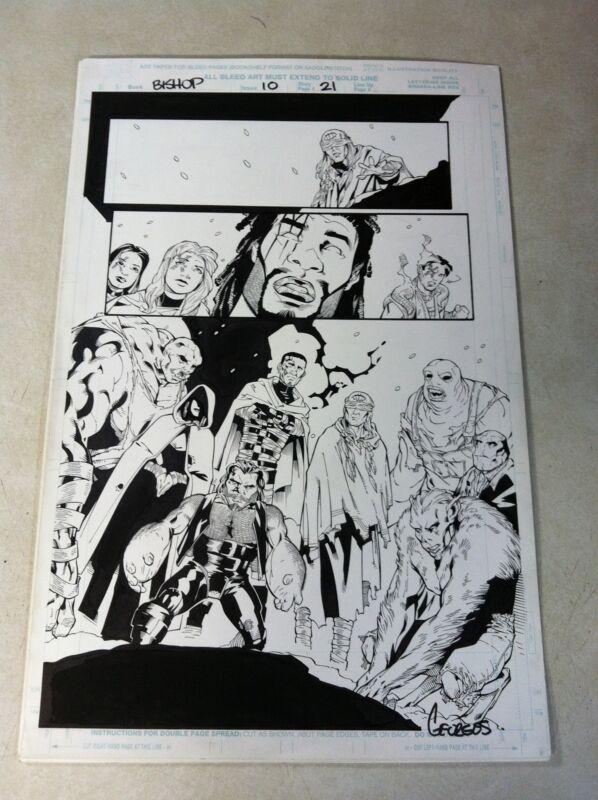 BISHOP #10 original comic artwork SPLASH, SIGNED, WICKED COOL, X-MEN!!