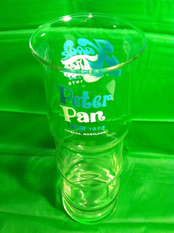 "Kapok Tree Inn & Peter Pan Inn Urbana, Maryland Tiki Style Glass 9.5"" Vtg 1975"