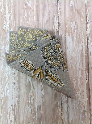 NEW Men's Pocket Square Black Yellow Floral Paisley Reversible Gray Trim