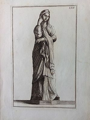 PUDICITIA antique Rome etching 1704 Domenico of Rossi Raccolta of statues