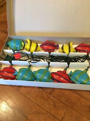 vintage Fish string party lights indoor outdoor patio Christmas blow mold