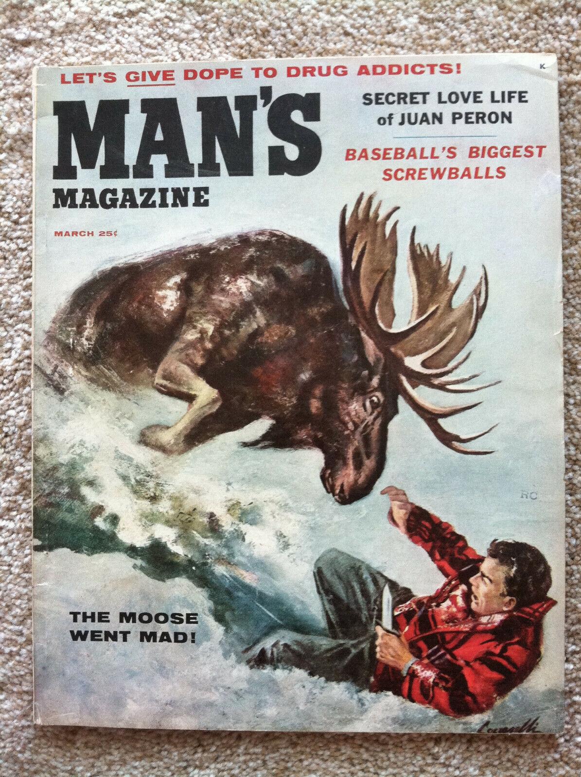 Man s Magazine March 1956 - Men s Adventure Magazine - Animal Attack Cover - $43.00
