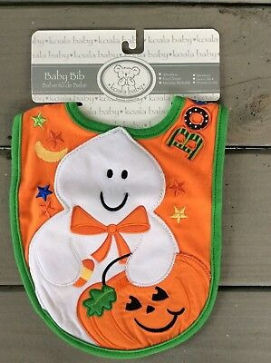 NEW Unsex Boy Girl Baby Halloween Ghost 👻 Bib Orange Pumpkin 🎃  Cotton