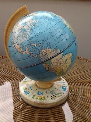 VINTAGE RETRO CLASSIC TOY TIN PLATE WORLD GLOBE BY CHAD VALLEY