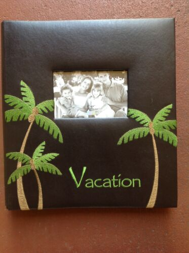 "VACATION  Black Leatherette PHOTO ALBUM By Myx Holds 500 4"" x6"" photos"