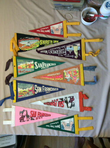 Lot of Nine (9) Vintage Pennants San Francisco Redwoods Fisherman