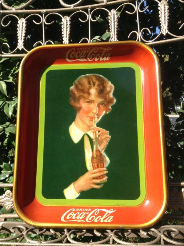 """1927 Coca Cola """"Bobbed Hair Girl"""" Tray - Rare"""