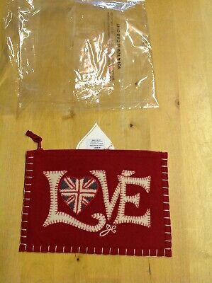BNWT Jan Constantine Red Love and Heart Felt Appliqued Purse/Pouch/Purse/ Bag