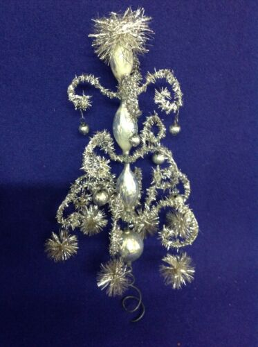 VINTAGE GERMAN TINSEL ON WIRE WITH MERCURY GLASS BALLS BEADS POMPOMS TREE TOPPER