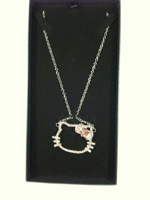 "Sanrio Hello Kitty Rhinestone Outline Face Necklace Appr. 16"" Chain In Gift Box"