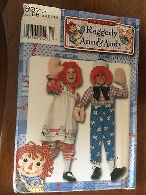 Simplicity 9375 Raggedy Ann & Andy Sizes 3-8 Costume Pattern Halloween 🎃 - Raggedy Andy Halloween Costume