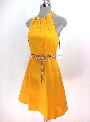 Calvin Klein NEW wT Modern Mango Cotton Dress Gold Belt Halter Top Women size 4 Calvin Klein Belted Cotton Dress