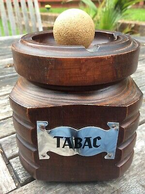 Vintage FRENCH Hand-carved WOOD TOBACCO TABAC JAR * PIPE KNOCKER & ASHTRAY LID
