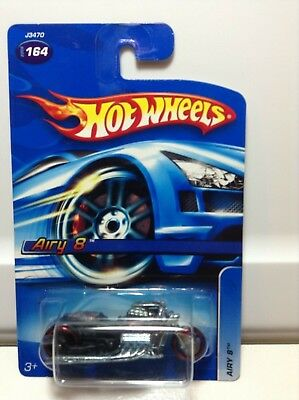 2006 Hot Wheels #164 Airy 8 - Flat Black -  Red Wheels  - HTF variation - $LOOK$