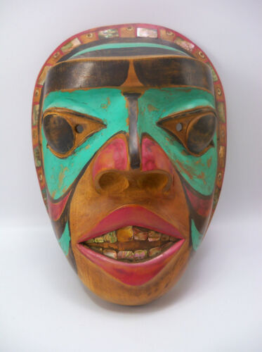 Early 20th Century Pacific Northwest Tlingit Haida Native American Abalone Mask