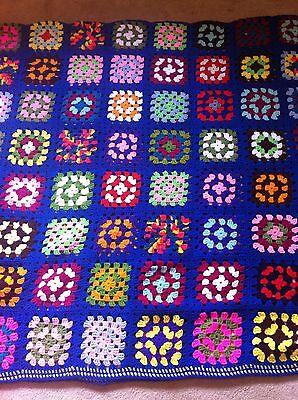 "Crochet Afghan Blanket Handmade Granny Square Royal Blue & Multicolor 61"" X 118"""