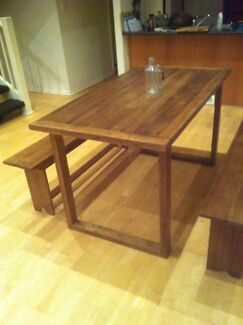 Reclaimed Recycled Timber Dining Table and 2 Bench Seats North Melbourne Melbourne City Preview
