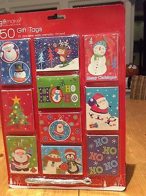 50  CUTE Christmas Present Gift Tags - 10 Design , SILVERThread , Xmas Tags