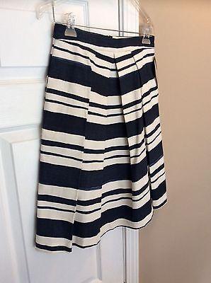 Womens Pleated Skirts Navy Stripe (Zara Basic woman's Pleated Stripe Skirt Navy & White Sz small.)