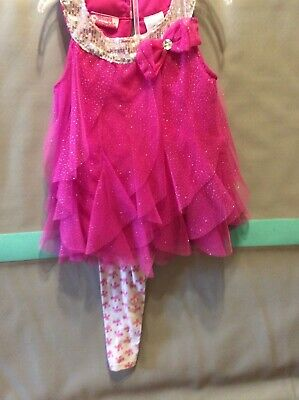 Hot Girl With Leggings (Sparkly hot pink ruffles with leggings size 5-6x)