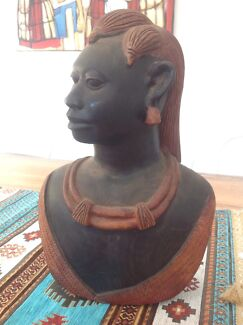 SUPERB LARGE OLD MASAI WARRIOR BUST CARVING - TANZANIA EAST AFRICA