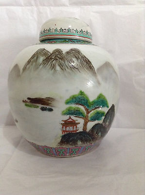 EARLY 20TH CENTURY HANDPAINTED ORIENTAL GINGER JAR WITH RURAL SCENES - SIGNED