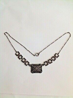 Vintage Sterling Silver  ART DECO Marcasite Onyx Necklace  Marcasite Onyx Necklace