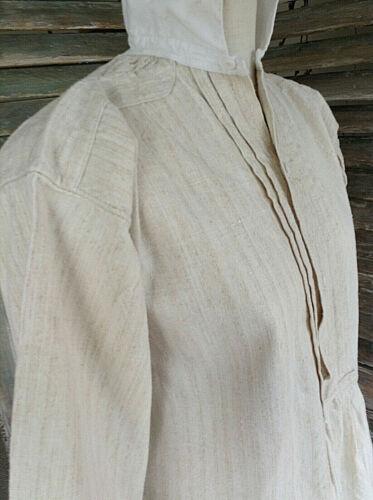 Antique French Linen Hemp Long Sleeve night dressing gown smock shirt dress