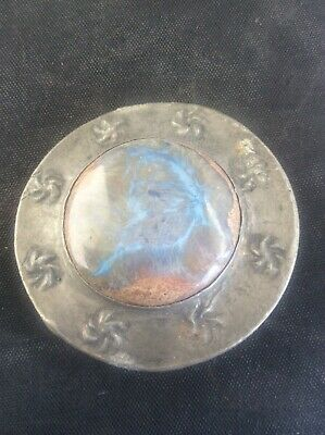 Antique Arts & Crafts Pewter round Brooch Ruskin High fired Cabochon