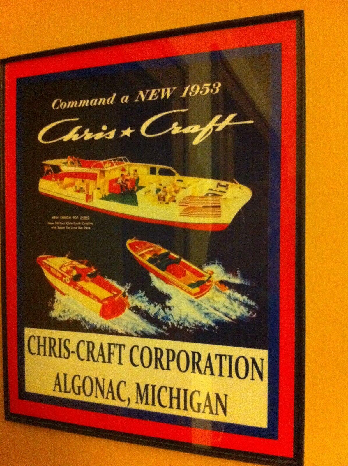Chris Craft Wood Boat New1953 Garage Framed Advertising Print Man Cave Sign
