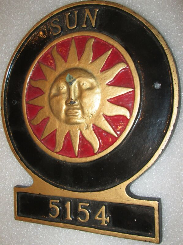FIRE MARK: Sun Insurance Company Cast Metal Plaque Number 5154-SIGN/MARKER