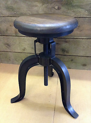 Industrial bar stool wooden top shabby vintage chic kitchen side table seat F22