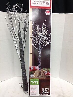 Holiday Time 3Ft Brown Birch Stick Tree With Led Clear Lights Frosted Branches