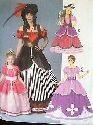 Butterick Sewing Pattern 6113 Girls Pirate Princess Dresses Gowns Size Miss