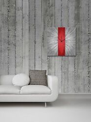 Modern Red & Grey Wall Clock Contemporary Abstract Decor Large Artistic Metal