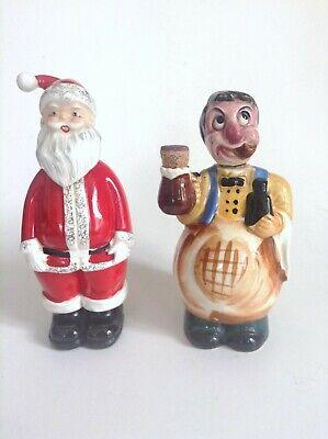 lot de 2 flacons bouteilles à bouchon personnage et Père Noel