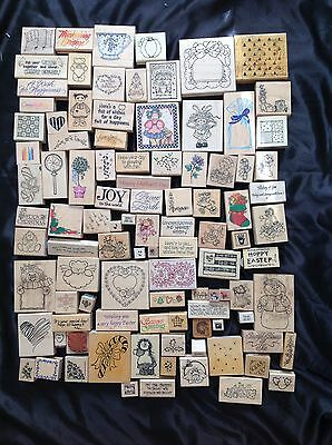 L4 lot of 100 wood mounted rubber stamps Retired