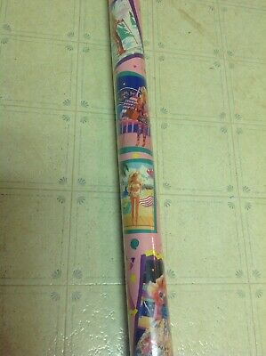New Vintage 90s Barbie Mattel 15 Sq Ft Wrapping Paper Gift Wrap Roll *RARE* - Barbie Wrapping Paper