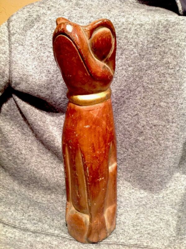 """Vintage Hand Carved 16"""" Wooden Frog Statue Decorative Figurine"""