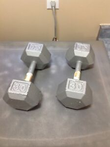 Dumbbell Weights , 2 x 30 lb Fitness Strength Training