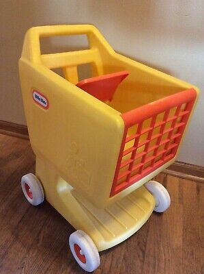Little Tikes Vintage Yellow Grocery Shopping Cart Child Size Pretend Play