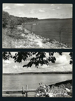 Walker Minnesota MN 2 Different, 1940s RPPCs Leech Lake Bays, Docks, Boats, Town